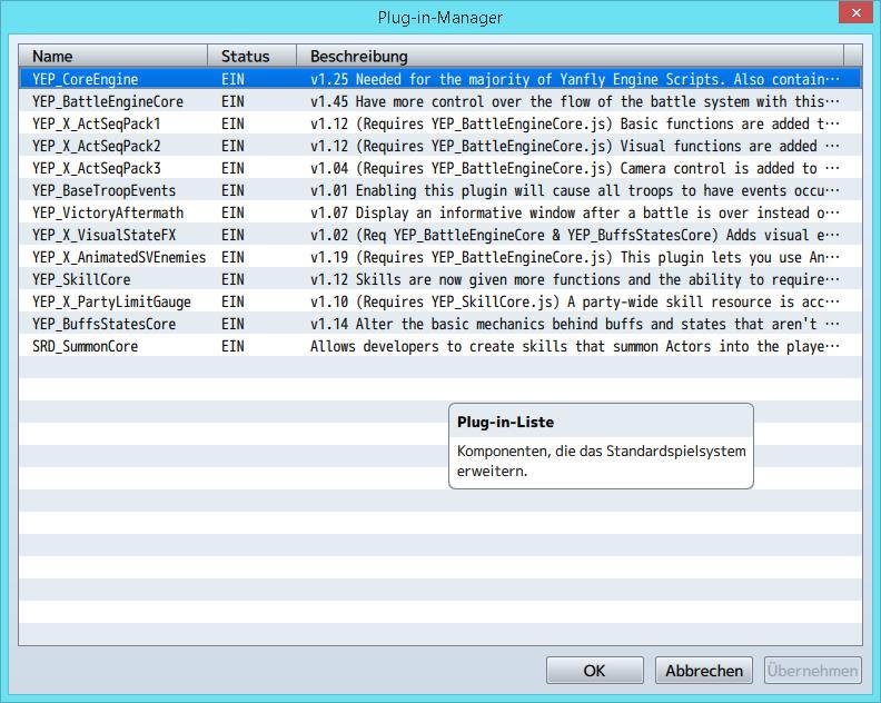 Yanfly Sideview enemies plugin - Fragen zu Plugins